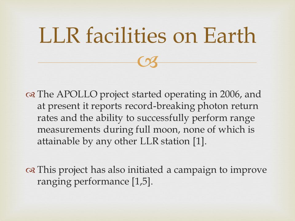   The APOLLO project started operating in 2006, and at present it reports record-breaking photon return rates and the ability to successfully perfor