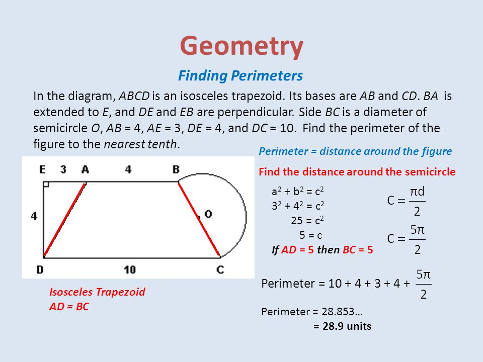 Geometry Finding Perimeters In the diagram, ABCD is an isosceles trapezoid.
