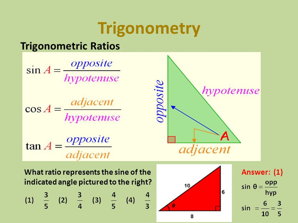 Trigonometry Trigonometric Ratios What ratio represents the sine of the indicated angle pictured to the right? Answer: (1)
