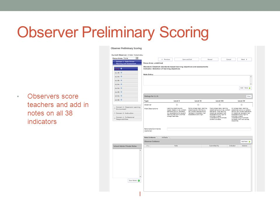 Observer Preliminary Scoring Observers score teachers and add in notes on all 38 indicators