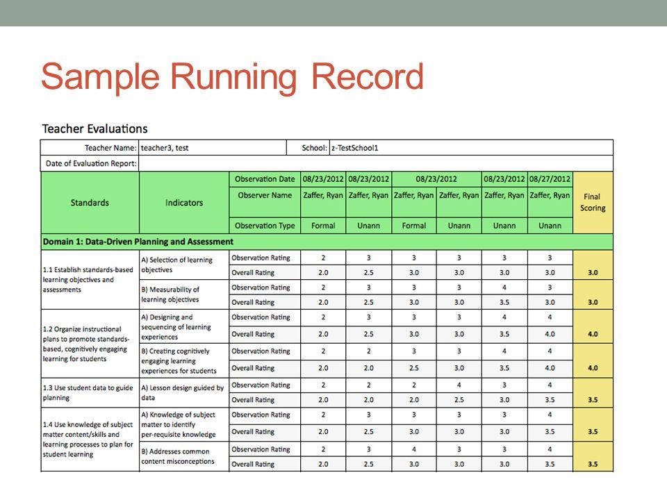 Sample Running Record