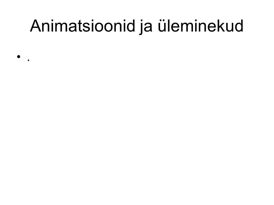 Animatsioonid ja üleminekud.