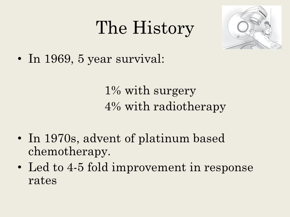 The History In 1969, 5 year survival: 1% with surgery 4% with radiotherapy In 1970s, advent of platinum based chemotherapy. Led to 4-5 fold improvemen