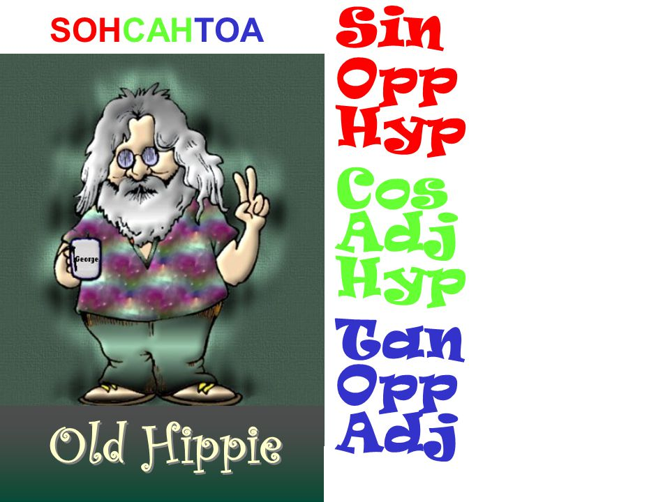SOHCAHTOA Old Hippie Sin Opp Hyp Cos Adj Hyp Tan Opp Adj