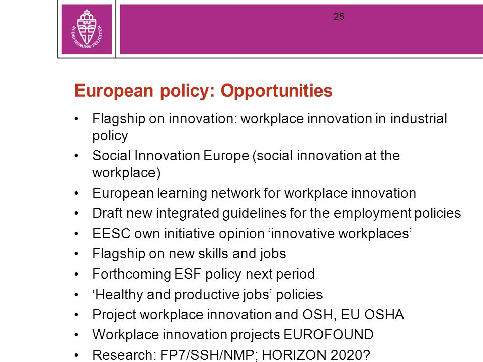 European policy: Opportunities Flagship on innovation: workplace innovation in industrial policy Social Innovation Europe (social innovation at the workplace) European learning network for workplace innovation Draft new integrated guidelines for the employment policies EESC own initiative opinion 'innovative workplaces' Flagship on new skills and jobs Forthcoming ESF policy next period 'Healthy and productive jobs' policies Project workplace innovation and OSH, EU OSHA Workplace innovation projects EUROFOUND Research: FP7/SSH/NMP; HORIZON 2020.