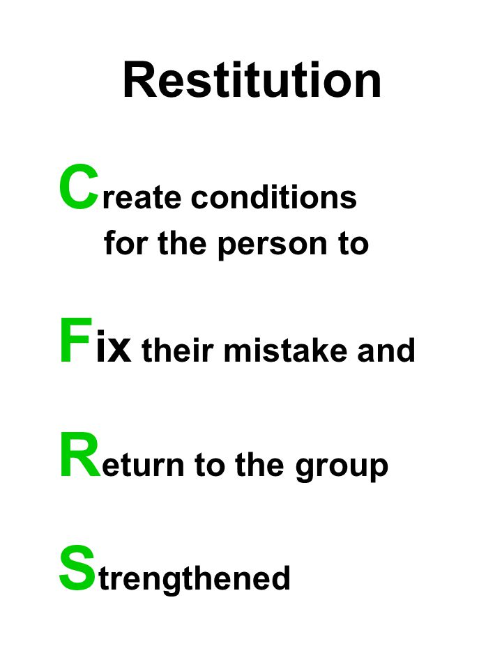 Restitution C reate conditions for the person to F ix their mistake and R eturn to the group S trengthened