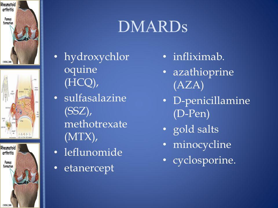DMARDs hydroxychlor oquine (HCQ), sulfasalazine (SSZ), methotrexate (MTX), leflunomide etanercept infliximab.