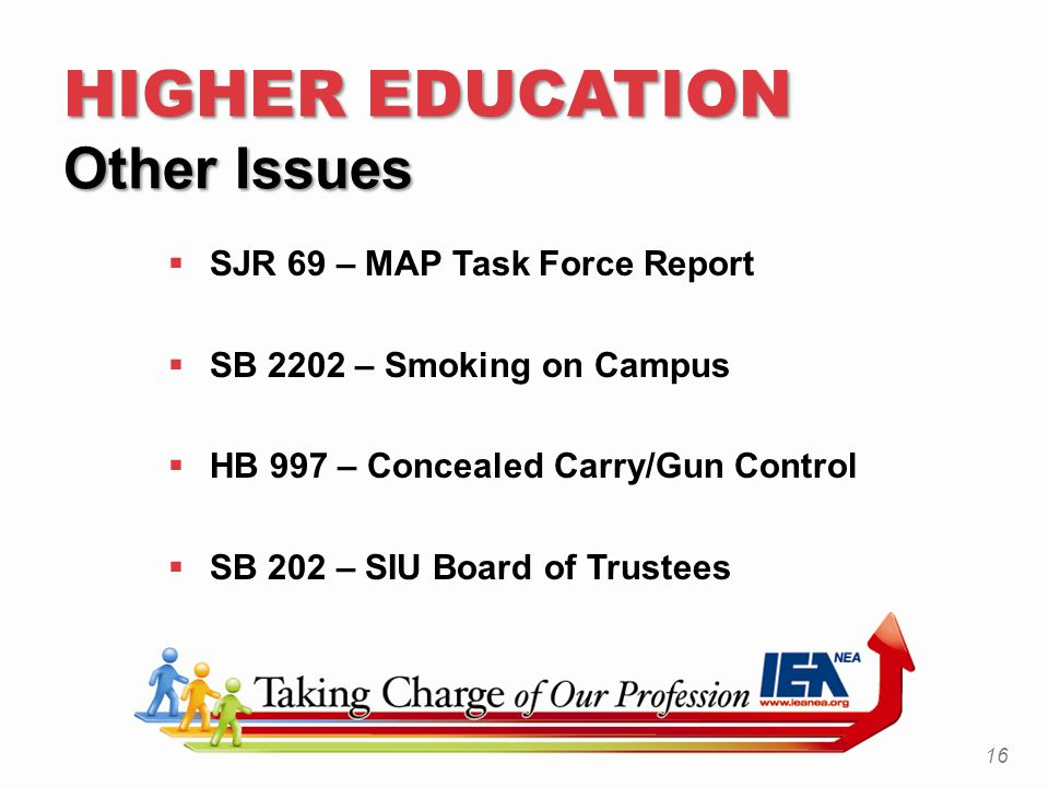 HIGHER EDUCATION Other Issues  SJR 69 – MAP Task Force Report  SB 2202 – Smoking on Campus  HB 997 – Concealed Carry/Gun Control  SB 202 – SIU Board of Trustees 16