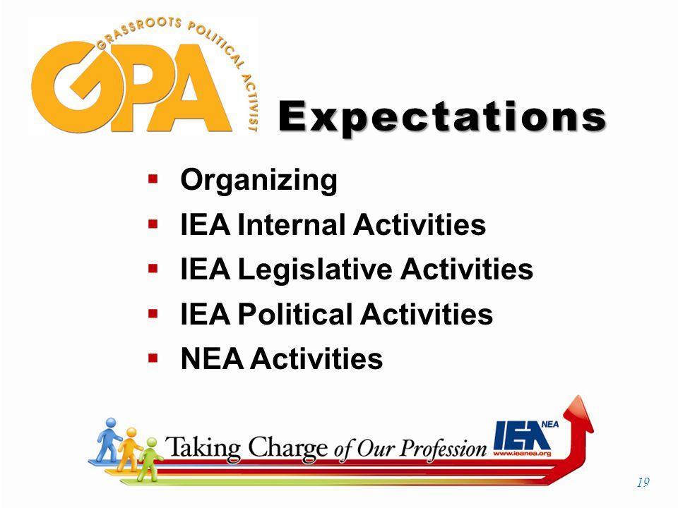 Expectations  Organizing  IEA Internal Activities  IEA Legislative Activities  IEA Political Activities  NEA Activities 19
