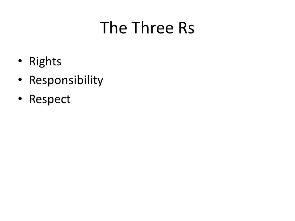 The Three Rs Rights Responsibility Respect