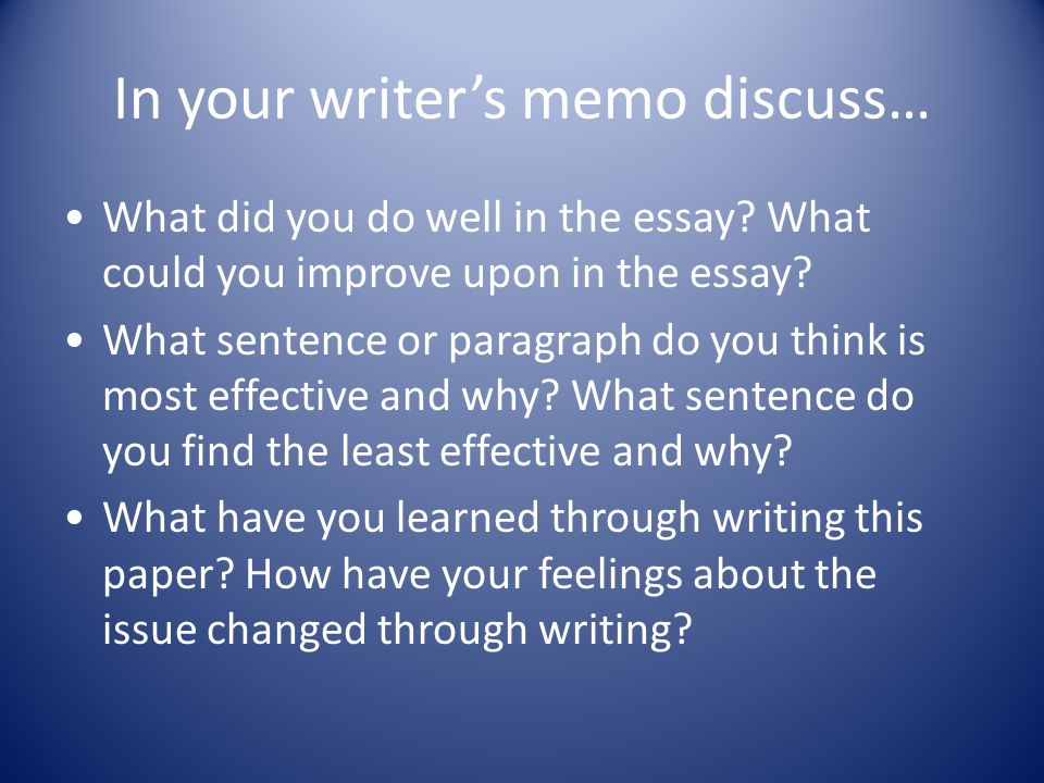 In your writer's memo discuss… What did you do well in the essay.