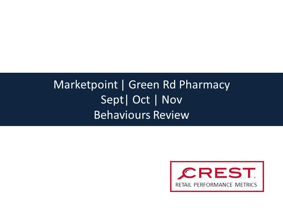 Marketpoint | Green Rd Pharmacy Sept| Oct | Nov Behaviours Review RETAIL PERFORMANCE METRICS