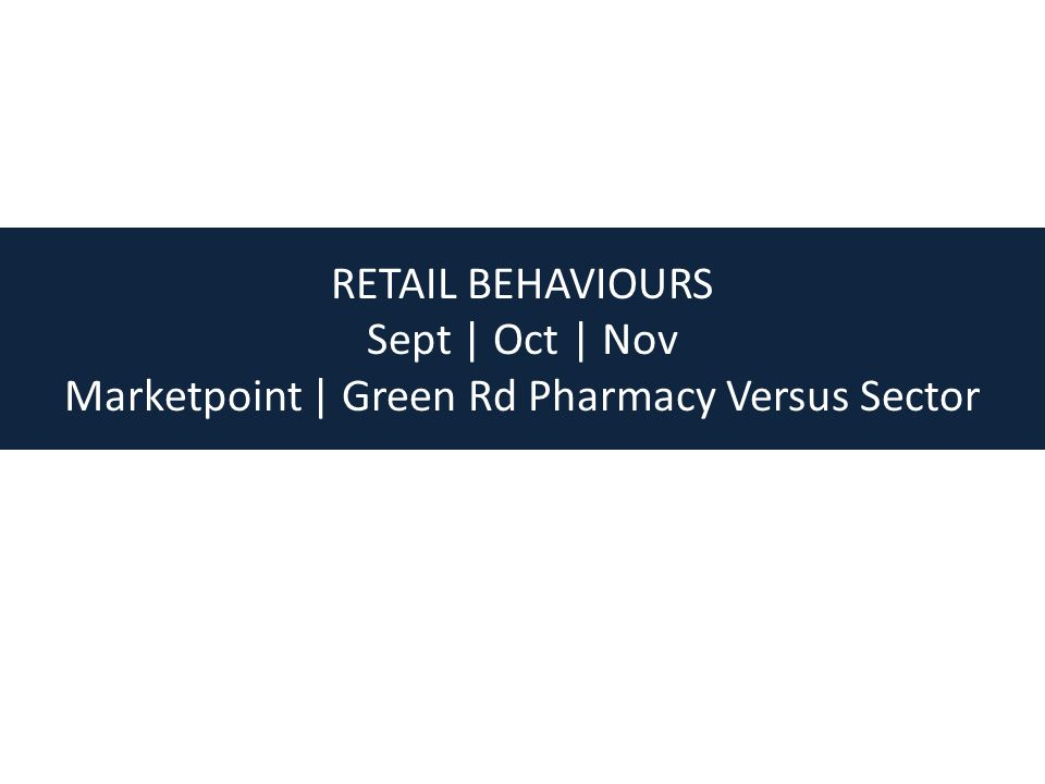 RETAIL BEHAVIOURS Sept | Oct | Nov Marketpoint | Green Rd Pharmacy Versus Sector