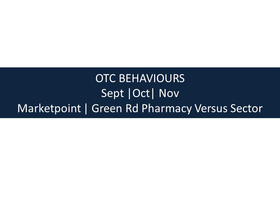 In Summary for OTC Behaviours – Status Retention – Marketpoint / Green Rd Pharmacy are outperforming the pharmacy average in OTC with regards to all 7 behaviours.