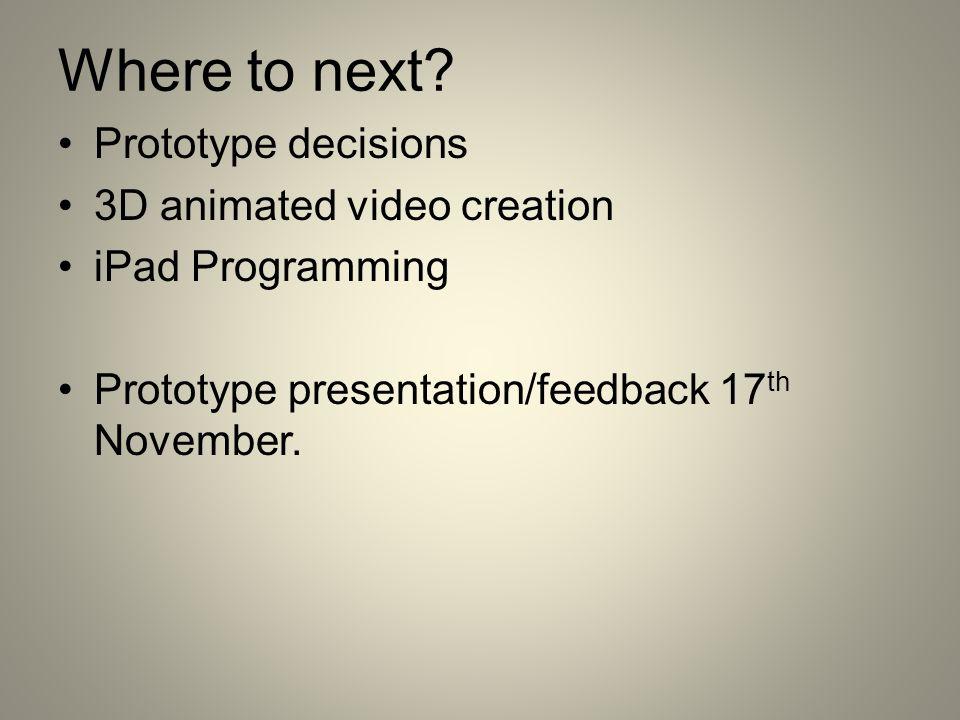 Where to next? Prototype decisions 3D animated video creation iPad Programming Prototype presentation/feedback 17 th November.