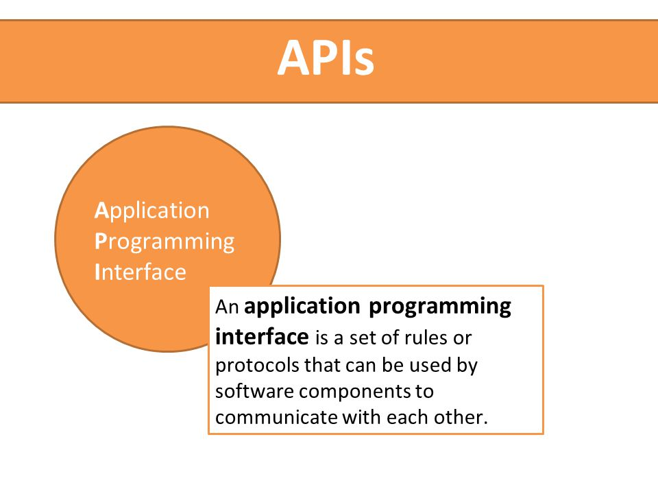 An application programming interface is a set of rules or protocols that can be used by software components to communicate with each other.