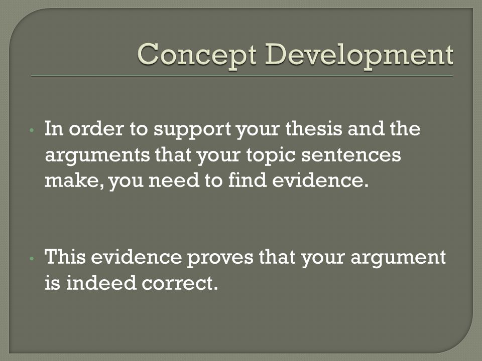 In order to support your thesis and the arguments that your topic sentences make, you need to find evidence.