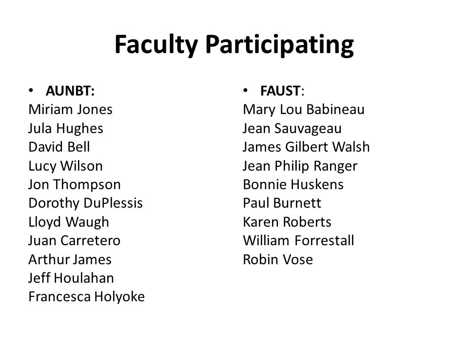 Faculty Participating AUNBT: Miriam Jones Jula Hughes David Bell Lucy Wilson Jon Thompson Dorothy DuPlessis Lloyd Waugh Juan Carretero Arthur James Jeff Houlahan Francesca Holyoke FAUST: Mary Lou Babineau Jean Sauvageau James Gilbert Walsh Jean Philip Ranger Bonnie Huskens Paul Burnett Karen Roberts William Forrestall Robin Vose