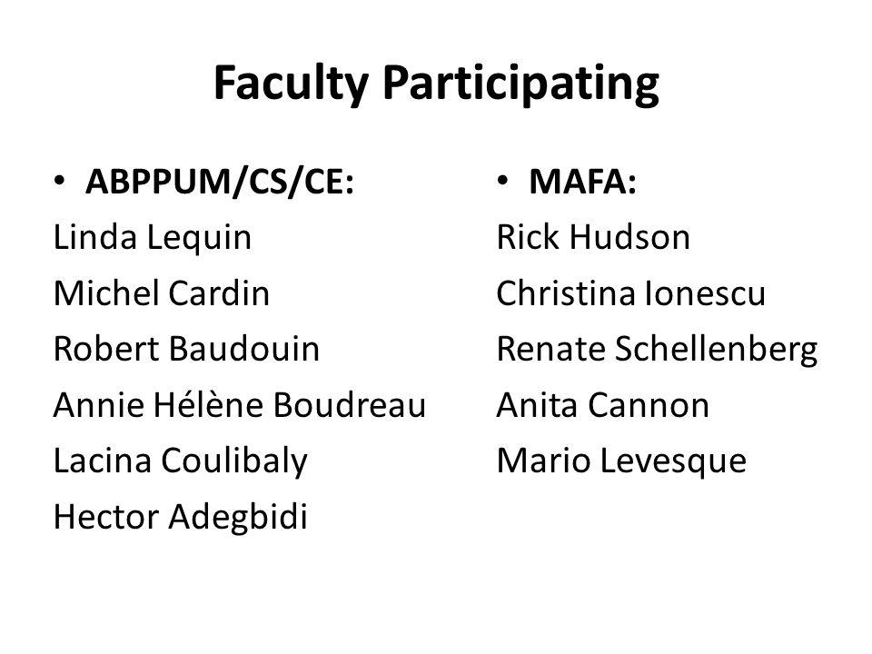 Faculty Participating ABPPUM/CS/CE: Linda Lequin Michel Cardin Robert Baudouin Annie Hélène Boudreau Lacina Coulibaly Hector Adegbidi MAFA: Rick Hudso
