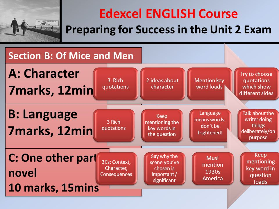 Edexcel ENGLISH Course Preparing for Success in the Unit 2 Exam 3 Rich quotations 2 ideas about character Mention key word loads Try to choose quotations which show different sides B: Language 7marks, 12mins 3 Rich quotations Keep mentioning the key words in the question Language means words- don't be frightened.