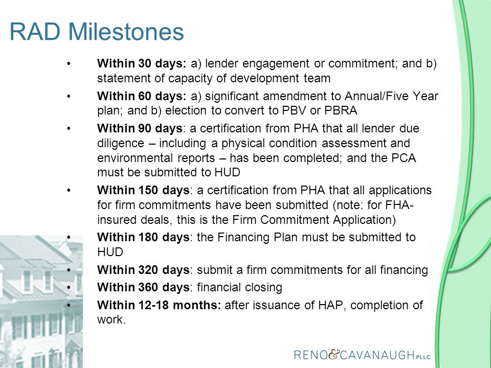 Within 30 days: a) lender engagement or commitment; and b) statement of capacity of development team Within 60 days: a) significant amendment to Annua
