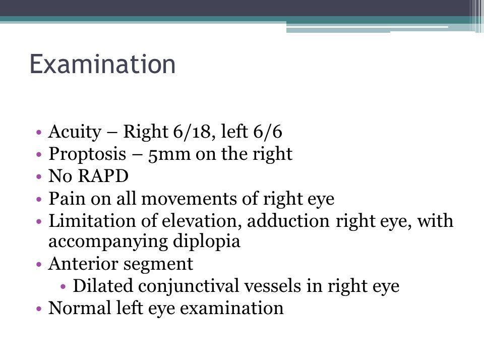 Orbital vs Periorbital cellulitis Orbital cellulitis = ophthalmic emergency – S.pneumoniae, S.aureus, H influenzae – Risk Fx: sinus disease, local infection, trauma (septal perforation), ENT/ ophthal surgery – Hx: FEVER, MALAISE, PAINFUL, SWOLLEN orbit – O/E: Swollen lids +- chemosis, Proptosis, Painful eye movements, Optic nerve function (VA, colour, RAPD) – Complications:  Local- keratopathy, raised IOP, CRVO, CRAO  Systemic- orbital abscess, cavernous sinus thrombosis, meningitis, cerebral abscess!