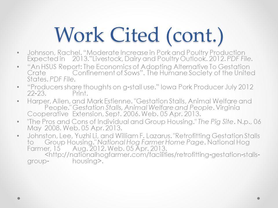 Work Cited (cont.) Johnson, Rachel.