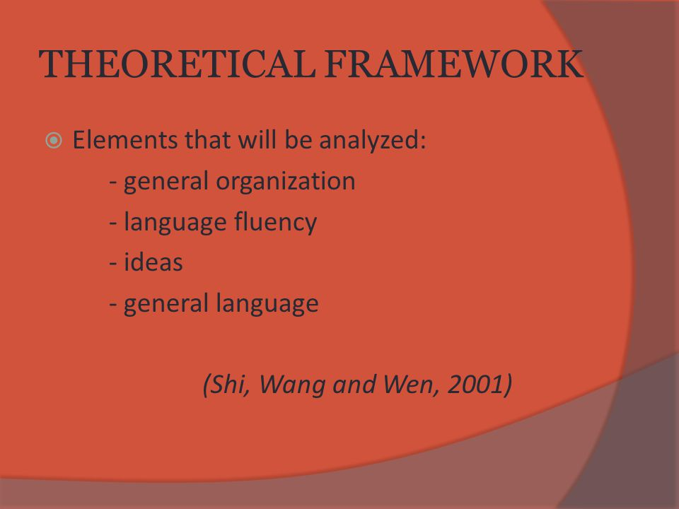 THEORETICAL FRAMEWORK  Elements that will be analyzed: - general organization - language fluency - ideas - general language (Shi, Wang and Wen, 2001)