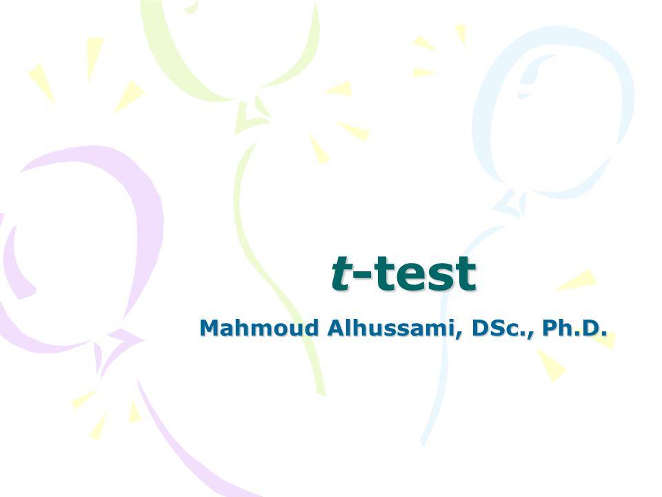 t-test Mahmoud Alhussami, DSc., Ph.D.