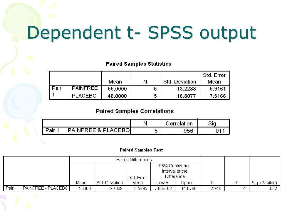 Dependent t- SPSS output