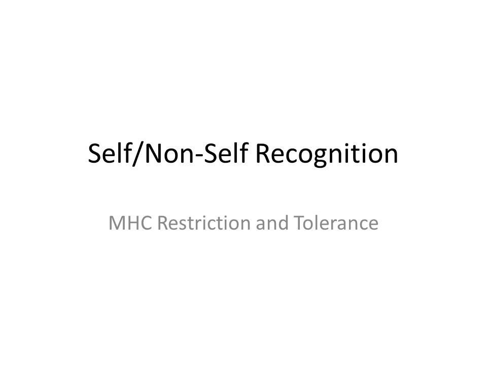 Self/Non-Self Recognition MHC Restriction and Tolerance