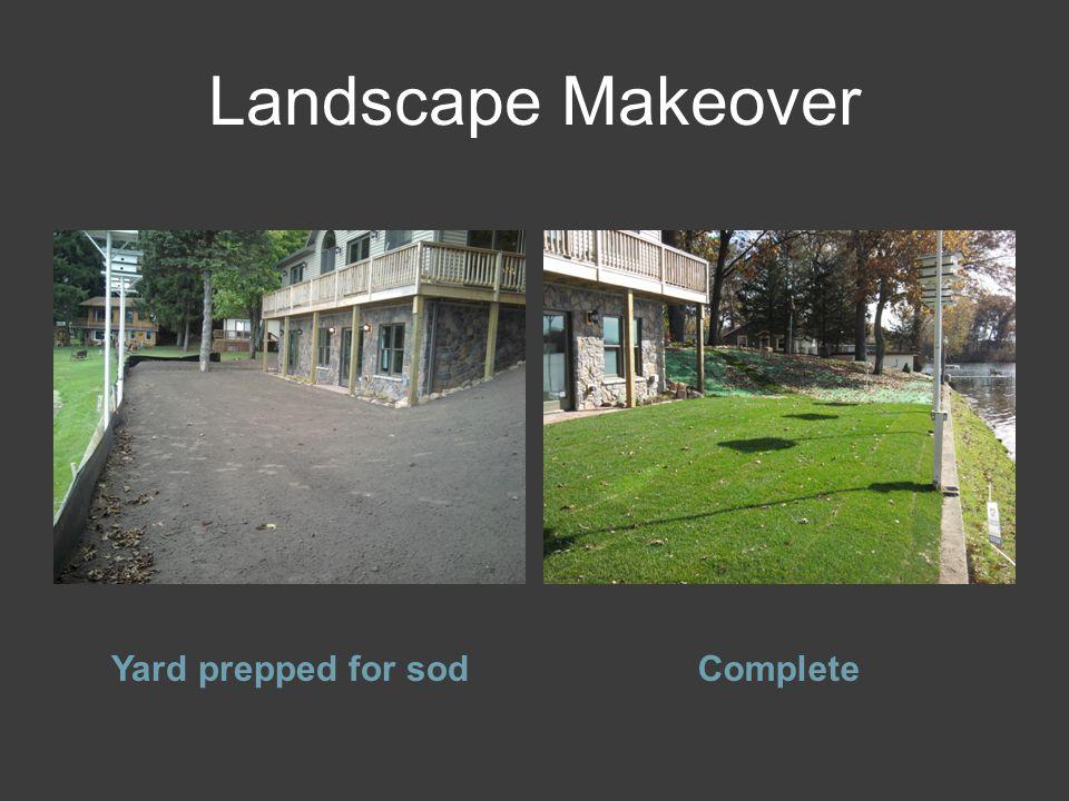 Landscape Makeover Yard prepped for sodComplete