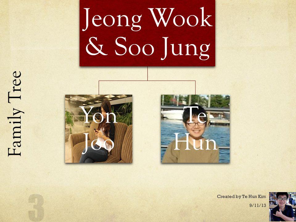 My Family Jeong Wook Kim, Yon Joo Kim, Te Hun Kim, Soo Jung Park 9/11/13 Created by Te Hun Kim 2