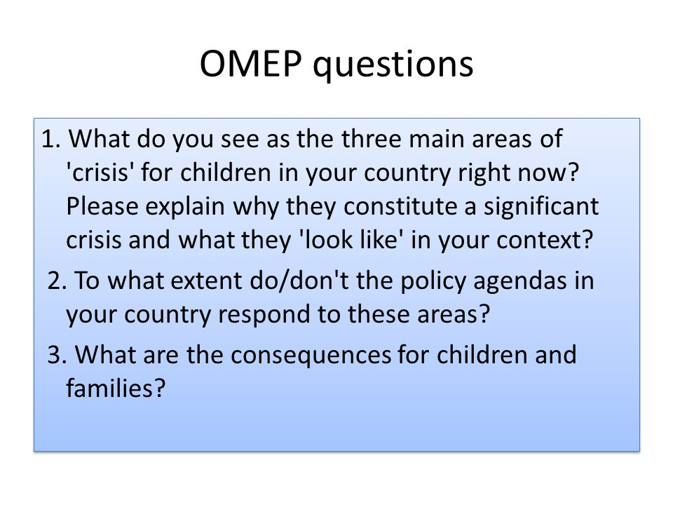 OMEP questions 1.