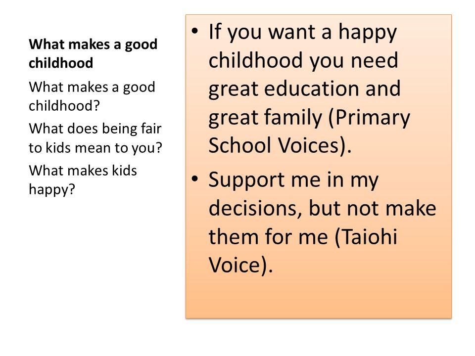 What makes a good childhood If you want a happy childhood you need great education and great family (Primary School Voices).