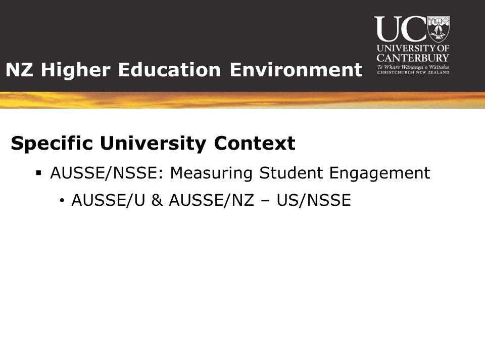 NZ Higher Education Environment Specific University Context  AUSSE/NSSE: Measuring Student Engagement AUSSE/U & AUSSE/NZ – US/NSSE
