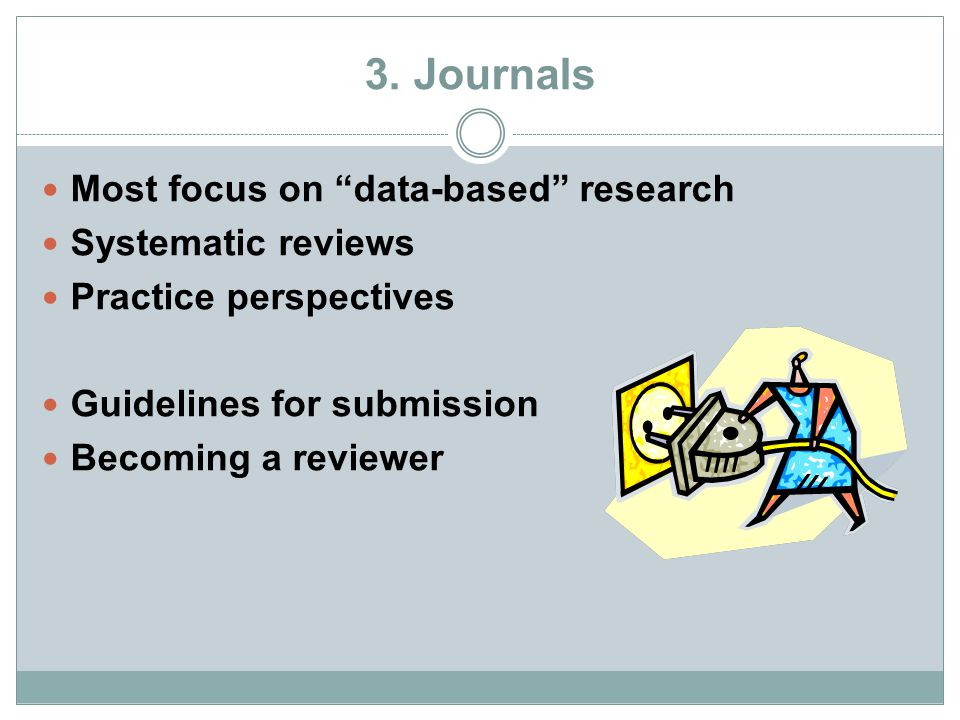 """3. Journals Most focus on """"data-based"""" research Systematic reviews Practice perspectives Guidelines for submission Becoming a reviewer"""