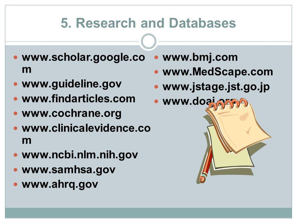 5. Research and Databases www.scholar.google.co m www.guideline.gov www.findarticles.com www.cochrane.org www.clinicalevidence.co m www.ncbi.nlm.nih.g