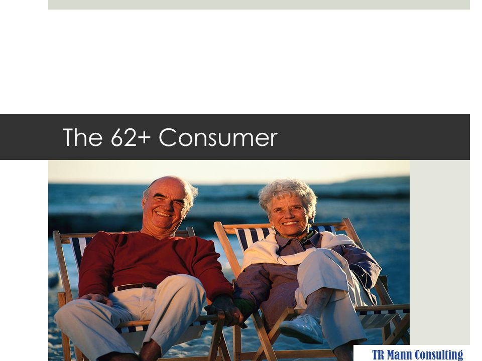 Men and women age 62-plus: Consume 74% of all prescription drugs Source: Age Power: How the 21 st Century will be ruled by the New Old by Ken Dychtwald, Ph.D.