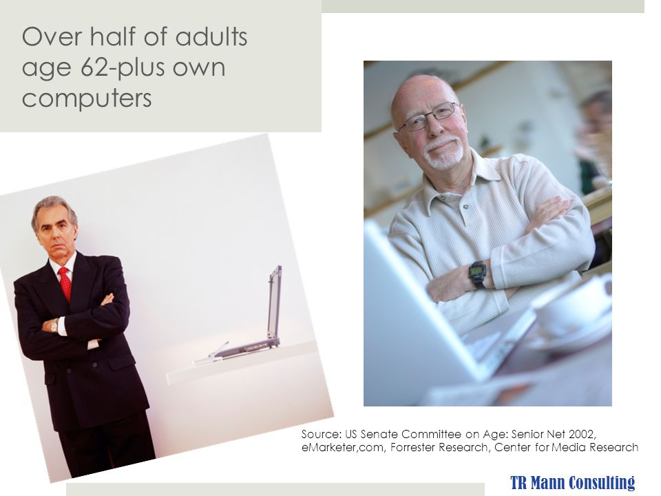 Over half of adults age 62-plus own computers Source: US Senate Committee on Age: Senior Net 2002, eMarketer,com, Forrester Research, Center for Media Research TR Mann Consulting