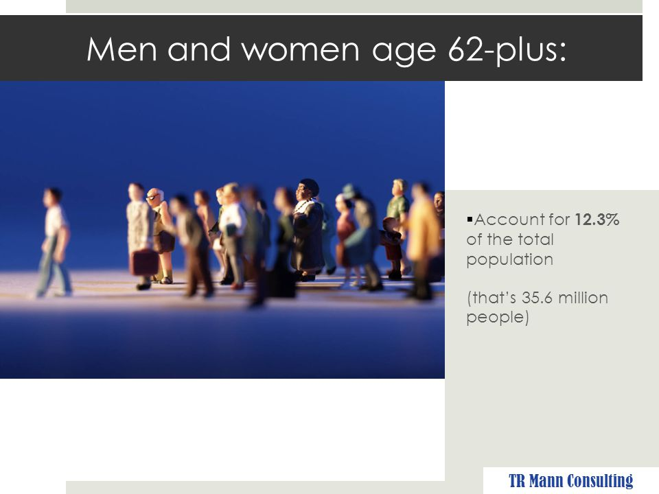 Men and women age 62-plus:  Own more than 70% of financial assets in America TR Mann Consulting