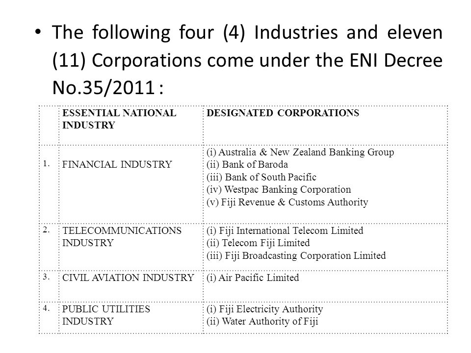 The following four (4) Industries and eleven (11) Corporations come under the ENI Decree No.35/2011 : ESSENTIAL NATIONAL INDUSTRY DESIGNATED CORPORATIONS 1.