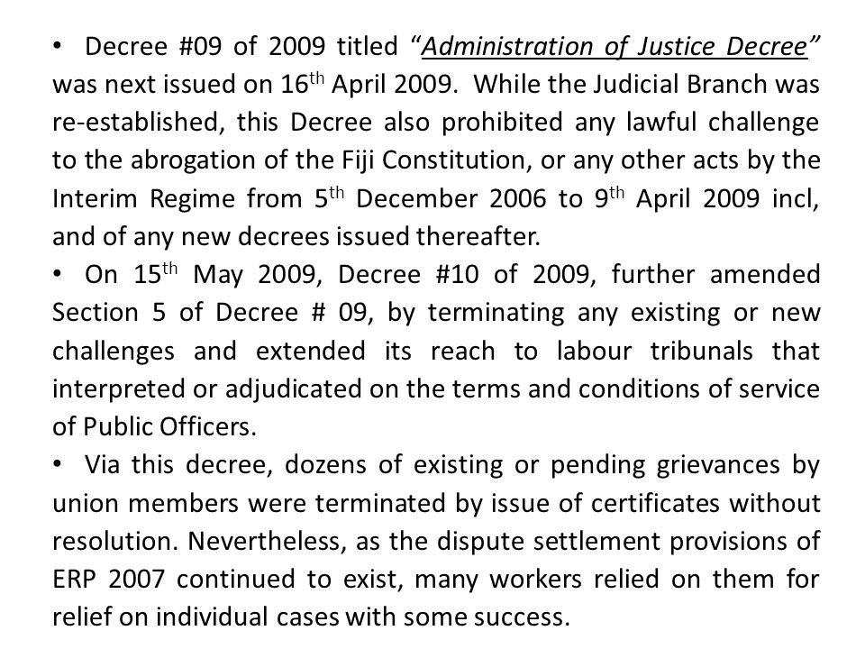 Part 2: Effect on Unions & Agreements o All currently existing and registered unions under ERP 2007 in these sectors must re-register.