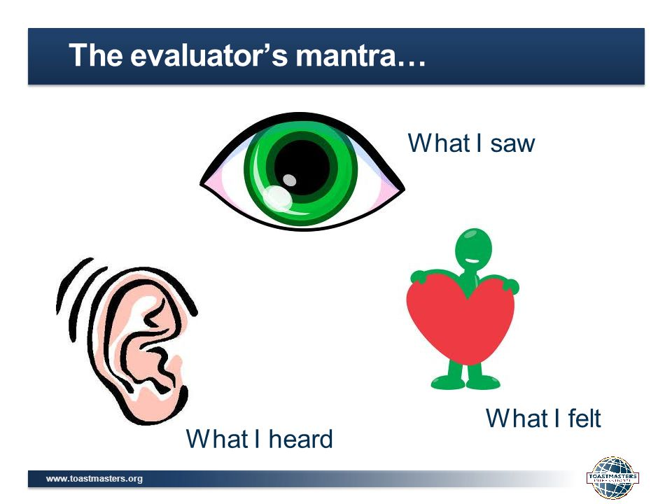The evaluator's mantra… What I saw What I heard What I felt