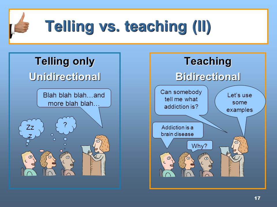 17 Telling vs. teaching (II) Telling vs.