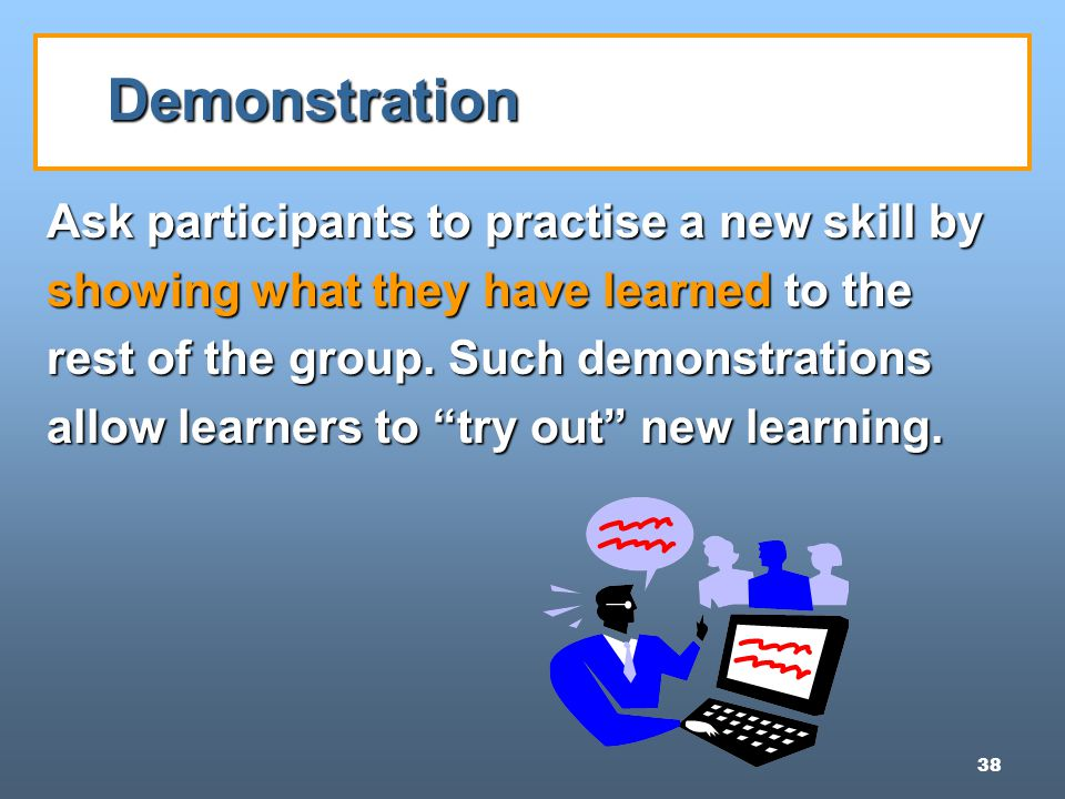 38 Demonstration Ask participants to practise a new skill by showing what they have learned to the rest of the group.