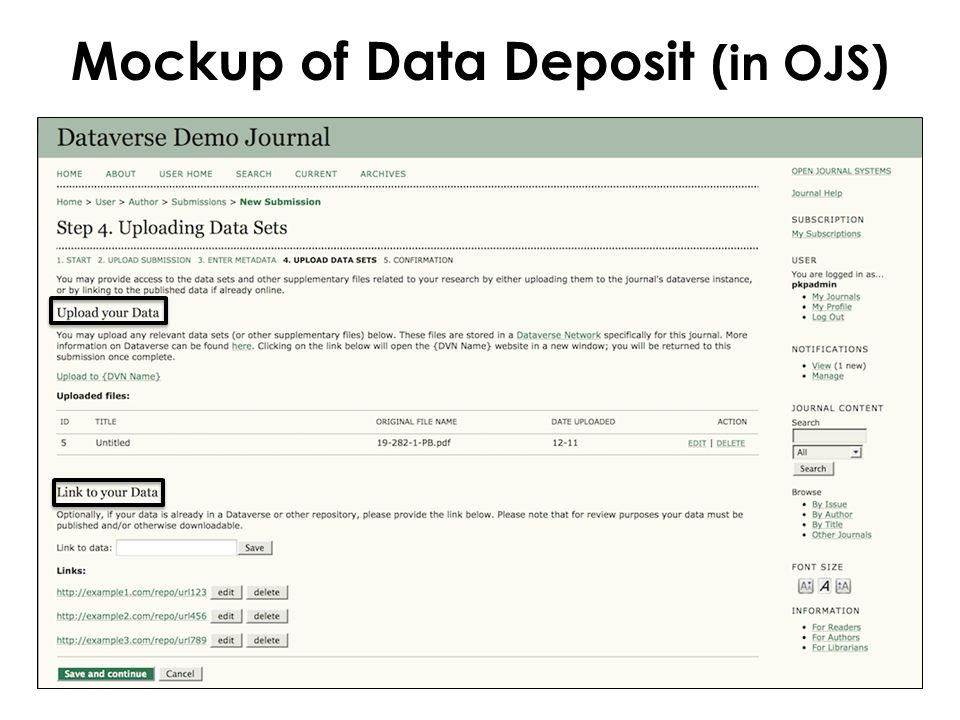 Mockup of Data Deposit (in OJS)