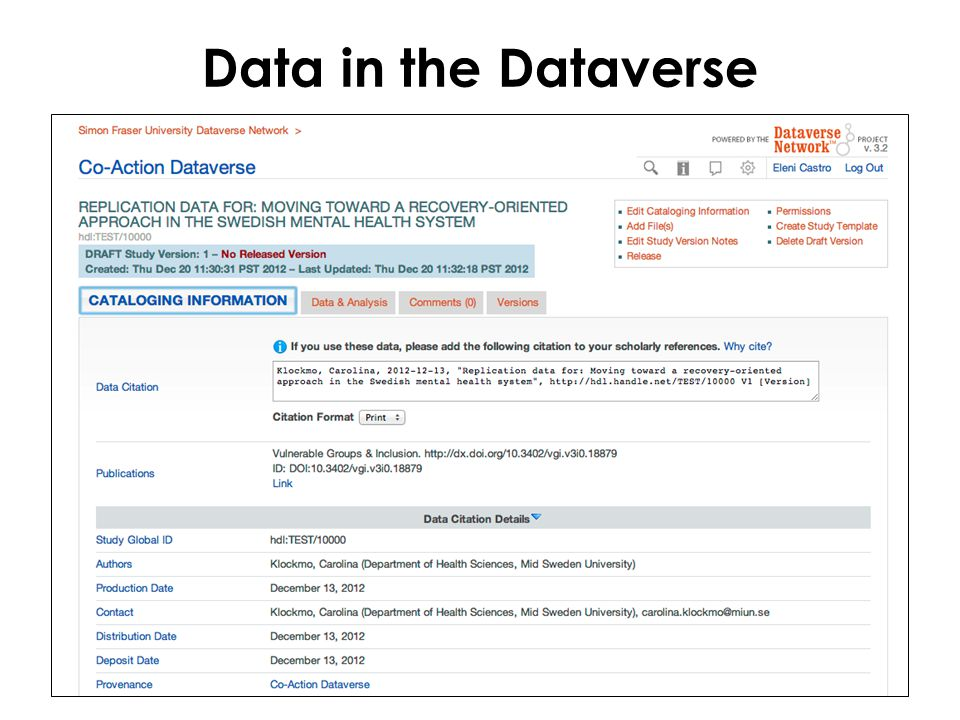 Data in the Dataverse