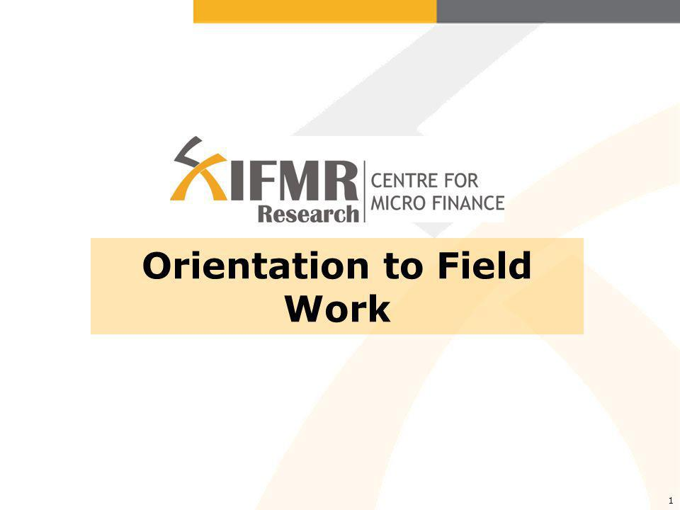 1 Orientation to Field Work