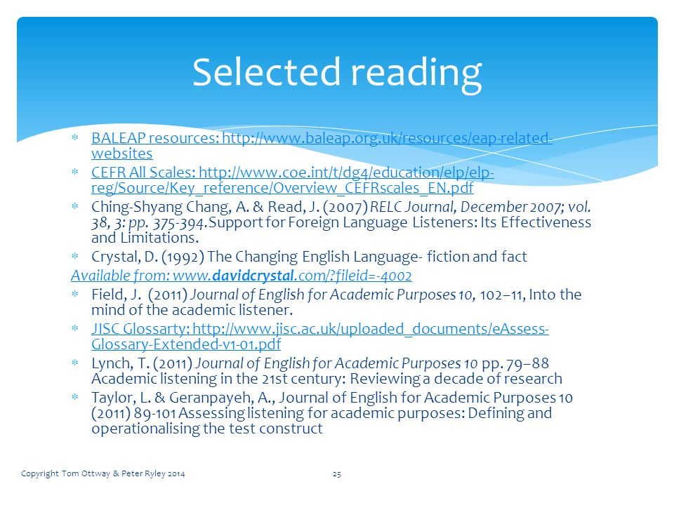  BALEAP resources: http://www.baleap.org.uk/resources/eap-related- websites BALEAP resources: http://www.baleap.org.uk/resources/eap-related- websites  CEFR All Scales: http://www.coe.int/t/dg4/education/elp/elp- reg/Source/Key_reference/Overview_CEFRscales_EN.pdf CEFR All Scales: http://www.coe.int/t/dg4/education/elp/elp- reg/Source/Key_reference/Overview_CEFRscales_EN.pdf  Ching-Shyang Chang, A.
